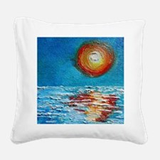 Abstract Sunset Impasto Square Canvas Pillow