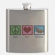 Peace Love Sea Lions Flask