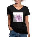 Shut Up & Knit Women's V-Neck Dark T-Shirt