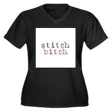Stitch Bitch Women's Plus Size V-Neck Dark T-Shirt