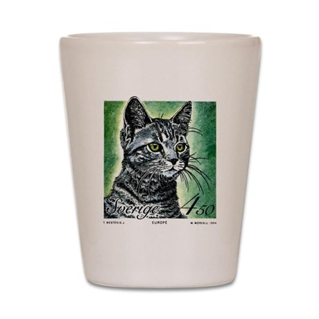 1994 Sweden European Cat Postage Stamp Shot Glass