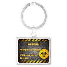 Sarcasm Warning Landscape Keychain
