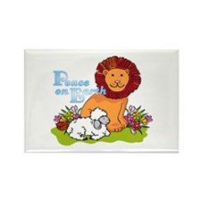 Lion & Lamb Peace On Earth Rectangle Magnet