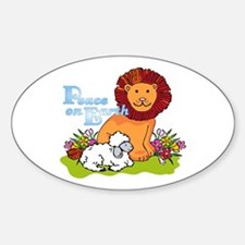 Lion & Lamb Peace On Earth Oval Bumper Stickers