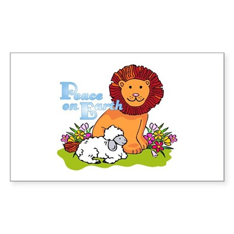 Lion & Lamb Peace On Earth Rectangle Sticker