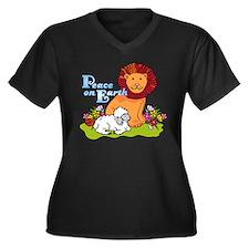 Lion & Lamb Peace On Earth Women's Plus Size V-Nec