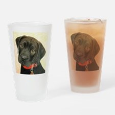 Black Labrador Puppy Portrait with  Drinking Glass