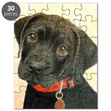 Black Labrador Puppy Portrait with Peach Ba Puzzle