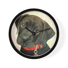 Black Labrador Puppy Portrait with Peac Wall Clock