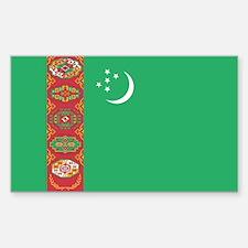 Turkmenistan Flag Sticker (Rectangle)