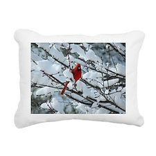 Snow Cardinal Rectangular Canvas Pillow