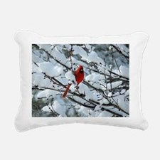 Snow Cardinal Rectangular Canvas Pillow