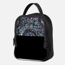 Beaded Sequin Flowers Photo Neoprene Lunch Bag
