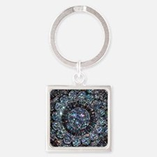 Beaded Sequin Flowers Photo Square Keychain