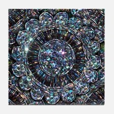 Beaded Sequin Flowers Photo Tile Coaster