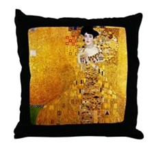 Gustav Klimt Portrait of Adele Bloch- Throw Pillow