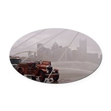 Antique Firetruck pumper on Three  Oval Car Magnet
