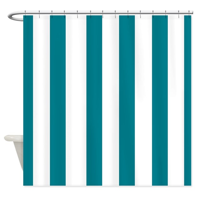 Teal Stripes Shower Curtain By Laughoutlouddesigns1