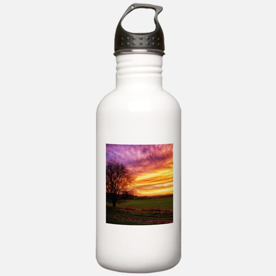 Rural Sunset Burst Sports Water Bottle
