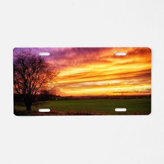 Rural Sunset Burst Aluminum License Plate
