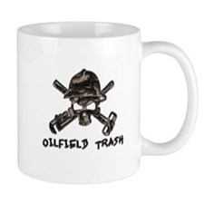 Riveted Metal Oilfield Trash Skull Mugs