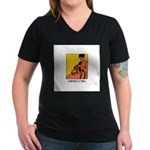 Knitting is Bliss Women's V-Neck Dark T-Shirt