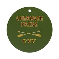 Cherokee Pride With Arrows Green Ornament (Round)