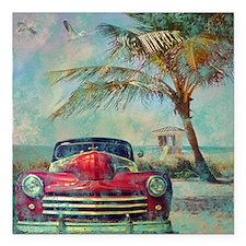 "Vintage Beach Square Car Magnet 3"" x 3"""