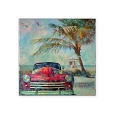 "Vintage Beach Square Sticker 3"" x 3"""