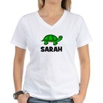 Turtle Design with Sarah Women's V-Neck T-Shirt