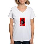 Knitting Retro Scottie Dog Women's V-Neck T-Shirt