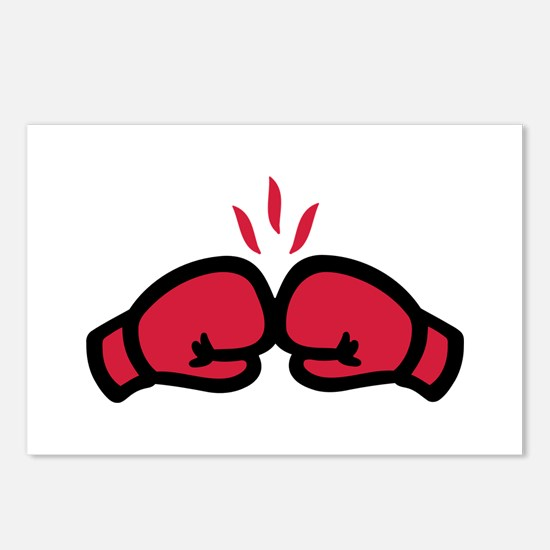 Boxing gloves punch Postcards (Package of 8)