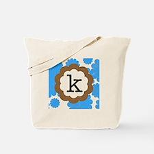 Blue Mums K Monogram Tote Bag