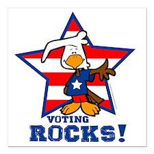 "Voting Rocks Square Car Magnet 3"" x 3"""