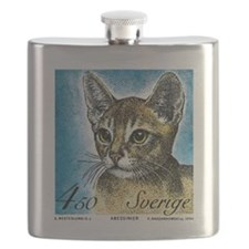 1994 Sweden Abyssinian Cat Postage Stamp Flask