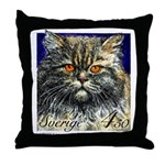 1994 Sweden Persian Cat Postage Stamp Throw Pillow