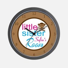 Personalized Little Sister Monkey Wall Clock