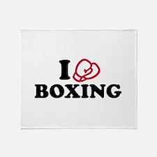 I love boxing gloves Throw Blanket