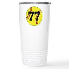 Softball Sports Player Number 77 Travel Mug