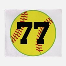 Softball Sports Player Number 77 Throw Blanket