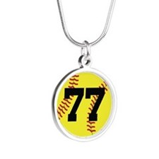 Softball Sports Player Number 77 Silver Round Neck