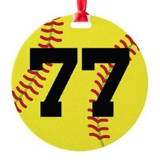 Softball Sports Player Number 77 Ornament