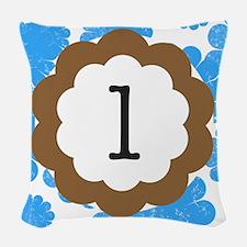 Blue Mums Monogram L Woven Throw Pillow