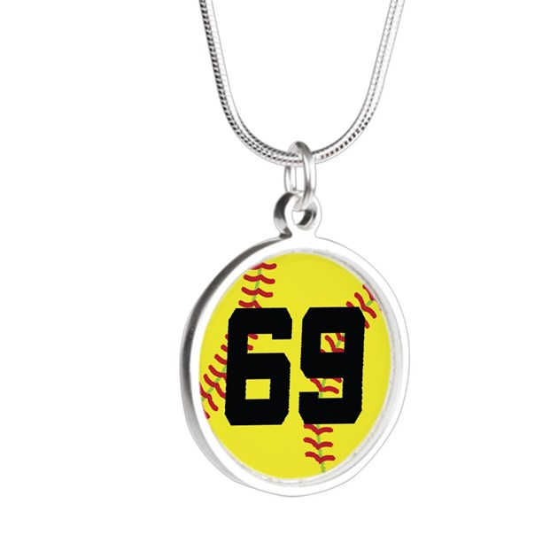 Softball Sports Player Number 69 Silver Round Neck by ...