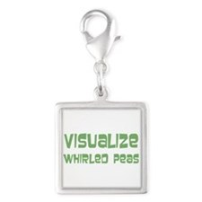 Whirled Peas Silver Square Charm