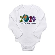 Cute Horse 2014 Year Long Sleeve Infant Bodysuit