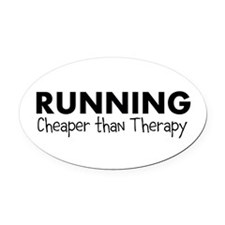 Cute Running therapy Oval Car Magnet