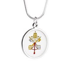 Vatican City Flag Silver Round Necklace