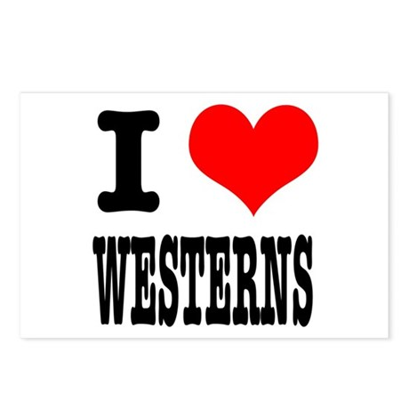 I Heart (Love) Westerns Postcards (Package of 8)