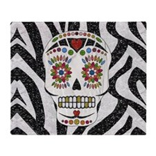 Sugar Skull on Zebra Print Throw Blanket